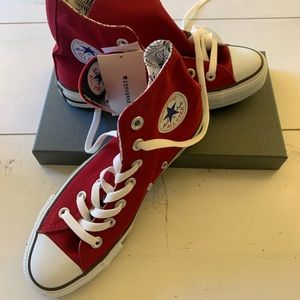 Converse Red Canvas High-Tops w/ patterned lining